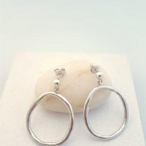 Large sterling silver dangle earrings Handmade modern big silver statement earrings for women